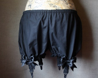 Black cotton bloomers with suspenders -  gothic victorian shorts, pettipants