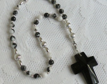 "Anglican/Episcopal Rosary - Zebra ""Jasper"" with Faceted Black Glass Cross - 6mm Weeks, 8mm Cruciform and Invitatory Beads"