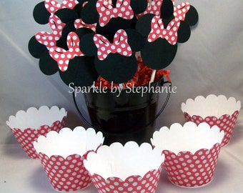 Minnie Mouse Cupcake Toppers & Wrappers - Red Polka Dot Bows and Wrappers - Set of 12+
