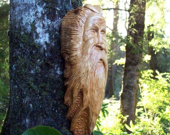 original wood carving of viking wood spirit, hand carved from cypress wood, WoodforddellDesigns, wooden tree house wall art
