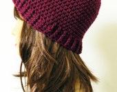 Womens crochet Beanie crochet Hat Cap - Maroon