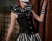 Three layer crazy collar neck cuff clown black white stripe mad hatter carnival halloween costume tie on harlequin -- SistersEnchanted