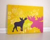 Whimsical Moose Art, Nursery Decor, Yellow and Pink Acrylic Painting
