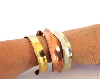 Three anticlastic bracelets, set of three metal arm bands, artisan tribal bangle bracelets, modern metal jewelry