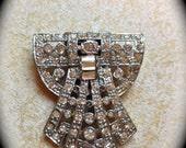 Rhinestone  Brooch Dress Clip Pin- Vintage Estate Find- Rhinestone Jewelry Accessory- Sweater Dress Clip Brooch- Wedding Bride to be Jewelry