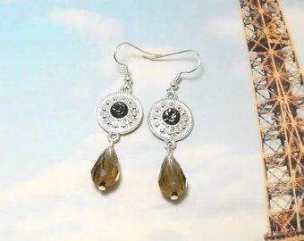Smokey Drop Glass Earrings - Clearance