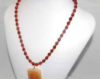 """Carnelian and copper necklace with fire agate pendant """"On fire"""""""