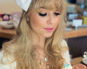 White Broderie Anglaise Bow Headband, Dolly Bow, Bow Headband, Oversized Bow Headband, Rockabilly Pin Up Girl Headband