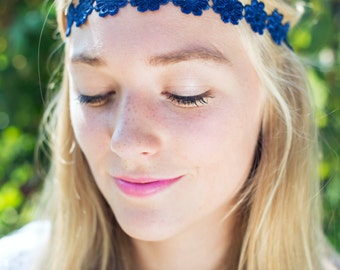 Navy Blue Daisy Headband, Daisy Trim Elastic Headband, Hippie Hair Accessory, Cute Floral Hairband