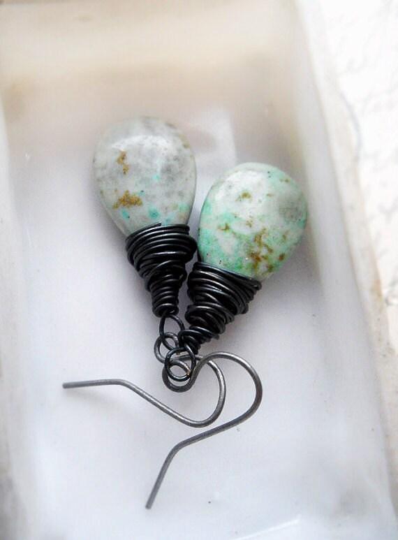 SALE - Beaded Earrings - Turquoise - Wire Wrapped Beads - Teardrop Beads - Rustic Earrings