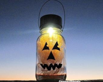 Pumpkin Mason Jar Lantern Solar Mason Jar Halloween Light 1 Hanging Outdoor Light