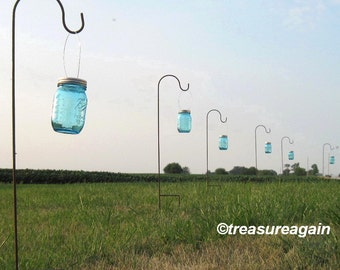 Hanging Jars with Hooks Wedding Aisle Flower Vases or Wedding Candles, 6 Clear, Green, or Blue Mason Jars, Hangers, and Shepherd Hooks