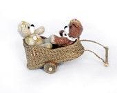 Small car for toys  Dollhouse Miniature   Garden Decor  OOAK