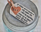 Keep Me in your Heart & I'll Stay There Forever - Handstamped Keychain Personalized with your Initials - Perfect wedding or anniversary gift