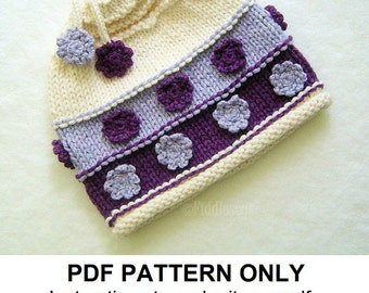 Knitting Pattern - Girl's Hat Pattern - the VIOLET Hat (Newborn, Baby, Toddler, Child & Adult sizes incl'd)