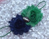 Notre Dame Fighting Irish Navy Blue and Green Football Baby Headband - Newborn - Infant - Toddler - Girl - Adult - Photo Prop