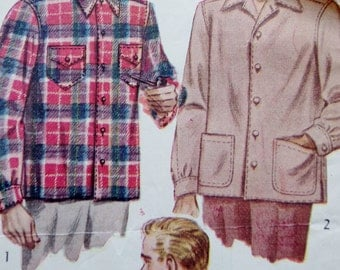 Vintage 40s Sewing Pattern, Mens 40s Shirt Pattern, Simplicity 1961, Mens Long Sleeve Shirt, Collared Shirt, Button Down, Medium Chest 38 40