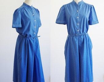 Vintage 80s Culottes,  Blue One Piece Shorts Suit, 80s Gaucho Playsuit, 1980s Shorts Dress, Bust 40 Large