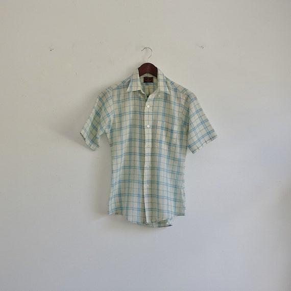 Vintage van heusen shirt 60s plaid mens shirt blue and for Van heusen plaid shirts