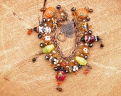 Thanksgiving Bracelet, Turkey Bracelet, Artisan Lampwork Glass Pilgrims, Pumpkins, and Corn, Autumn Jewelry, Fall Charm Bracelet OOAK #5