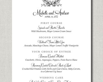 Kate Collection Menu - Set of 75 Custom Menus for Weddings, Events, Parties and More - by Abigail Christine Design