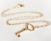 Long Matte Gold Key Necklace