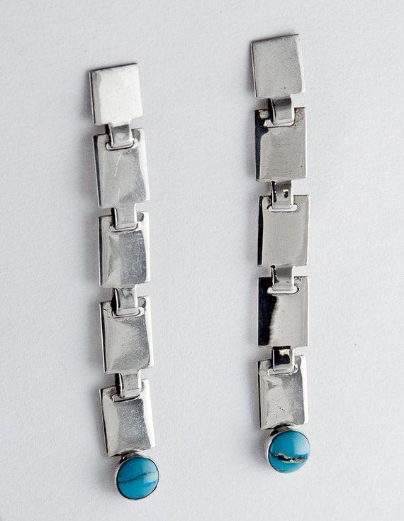 Long Retro Turquoise Earrings