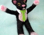 Business Cat, Needle Felted, Black and White Cat