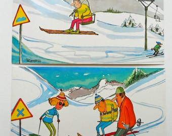 "Vintage Ski Comic Postcards - Set of 5 - by Artist Signed ""Pelotsch"" - Vintage Ski - Ski Ephemera - Ski Collectible - Ski Art - Ski"