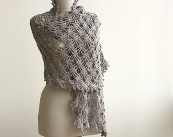 Silver grey Shawl Wrap Shimmery Glittery winter accessories
