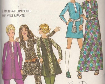 Vintage Sewing Pattern Retro Dress Vest Pants 1970s Young Junior Teen 9/10