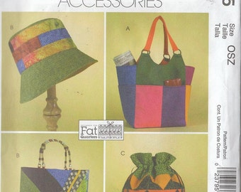 Sewing Pattern Patchwork Accessories Hat Handbags Purses Drawstring Bag 2005 Uncut
