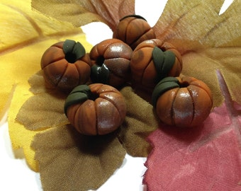Pumpkin Beads - Just Picked Pumpkins - Polymer Clay - Orange and Chocolate - 6 beads