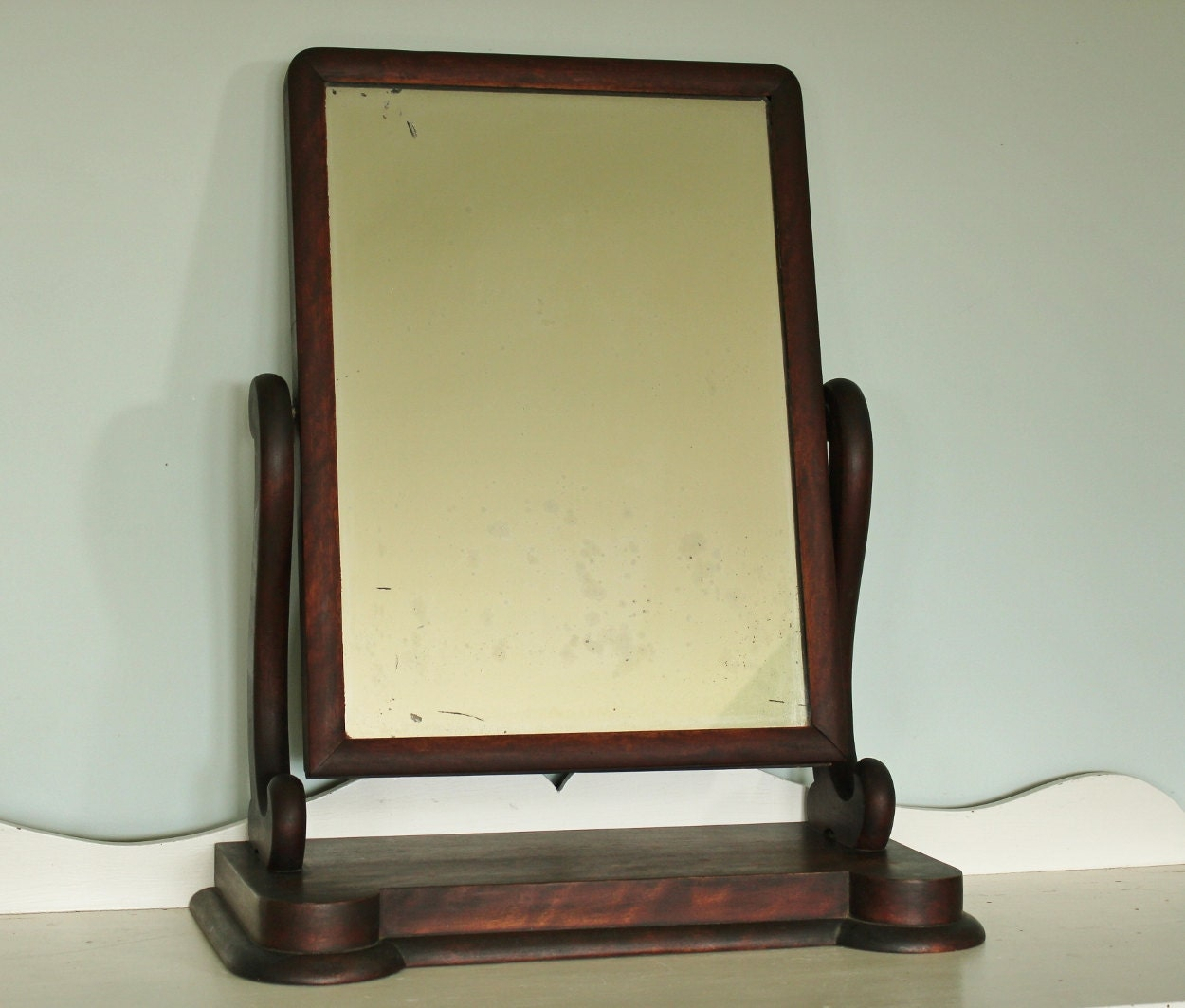 Antique empire mahogany shaving mirror for Shaving mirror