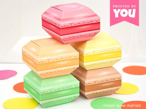 French Macaron Favor Box Set : DIY Printable Macaroon PDF ...
