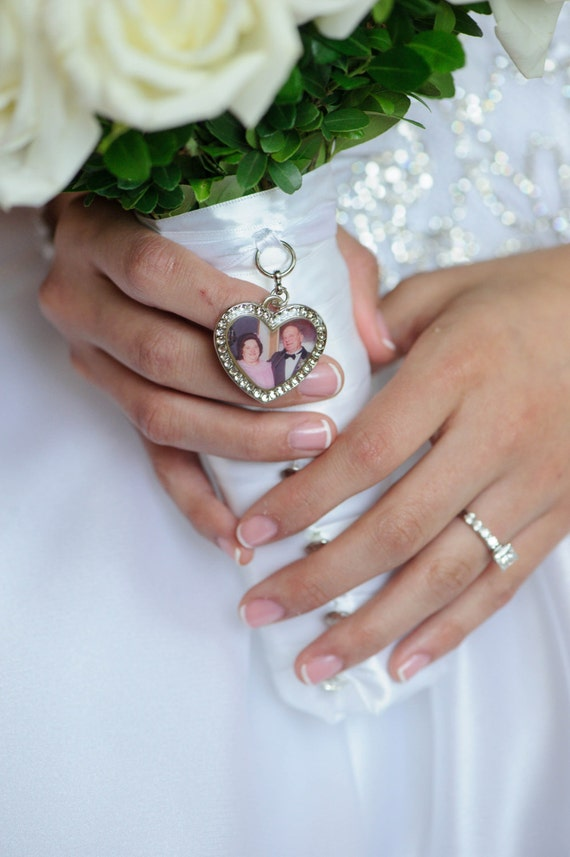 wedding bouquet charm bridal keepsake heart personalized custom