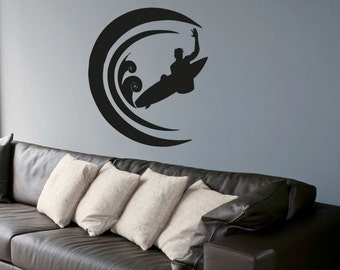 Vinyl Wall Decal Sticker Circular Wave Surf OSAA1235m