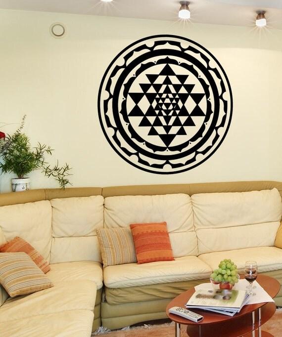Wall Decoration Stickers In Sri Lanka : Vinyl wall art decal sticker sri yantra design osmb m