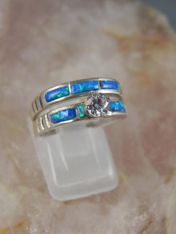 Native American Opal Wedding Ring Set