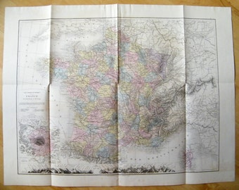 1905 Very LARGE Antique map of  FRANCE, beautiful decorative map of France in pastel colors