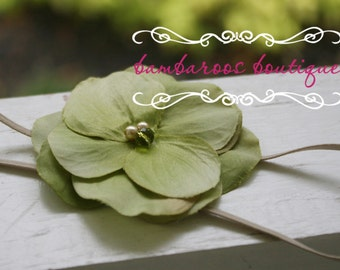 vintage green baby flower headband, Newborn Headband, Baby Headband, Green Small FLower Headband