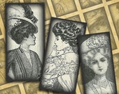 """Victorian Women Steampunk Fashion-- .75"""" x 1.5"""" Bamboo Tiles digital collage sheet #1--Instant Download"""