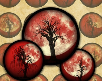 Dead Trees and Full Moons on Red--Halloween Digital Collage Sheet Bottlecap Circles-- Instant Download