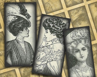 "Victorian Women Steampunk Fashion-- .75"" x 1.5"" Bamboo Tiles digital collage sheet #1--Instant Download"