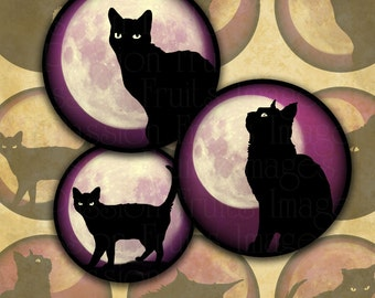 Black Cats on Pink Moonlit Skies 1.5 inch Circles Halloween Digital Collage Sheet--Instant Download