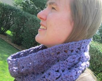 Crochet Purple Handspun Cowl