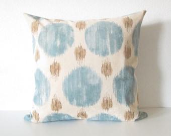 Polkaspot Ikat - Platinum Blue mocha - decorative pillow cover