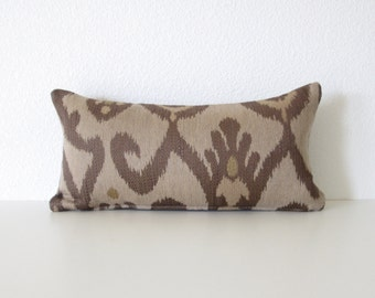 Decorative pillow cover - 8x16 - Light brown - Dark brown - Mini Lumbar Pillow - Ikat Lumbar Pillow - Brown Ikat Pillow