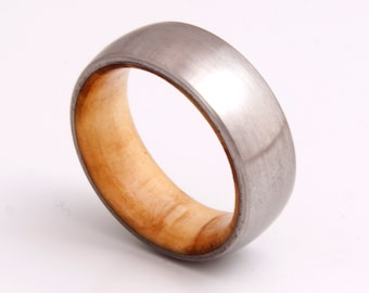 wooden ring / wedding band / titanium olive wood ring