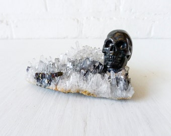 10% SALE - Dead Pirate Matrix Crystal Quartz Island - Black Polished Obsidian Skull - Quartz Pyrite Crystal Island Cluster - Druzey Geodes